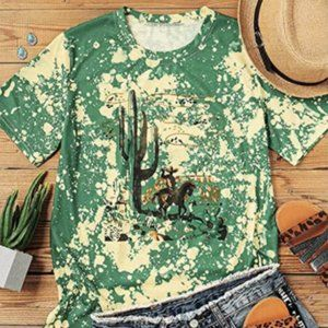 Green Bleached Country Western Graphic T-Shirt